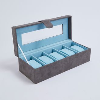 Boite de rangement 5 montres en suédine grise et bleu aqua