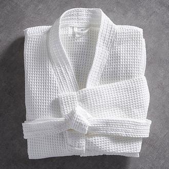 MAOM - Peignoir nid d'abeille en coton éponge blanc Taille S