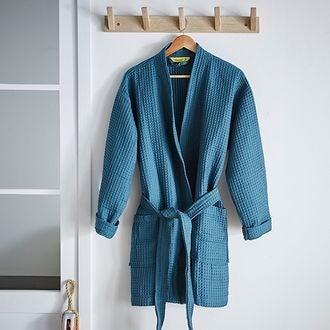MAOM - Peignoir nid d'abeille en coton éponge bleu orage Taille S