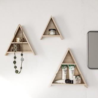 Artemio - set de 3 étagères tipi en bois brut
