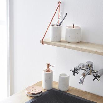 Pot à coton en marbre avec couvercle en cuivre