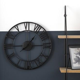 Horloge murale vintage en métal gris Ø40cm