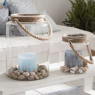 Lanterne en verre avec corde 24x34cm