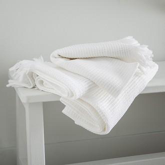 Serviette de bain nid d'abeille blanche 80x140