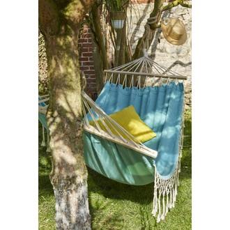 Hamac à franges en coton Aqua 200x100cm