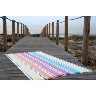 Fouta à rayures multicolores verticales 90x180cm