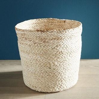 Poubelle ouverte tissée en fibre de maïs beige 14l