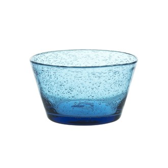 Coupe dessert en verre bullé bleu