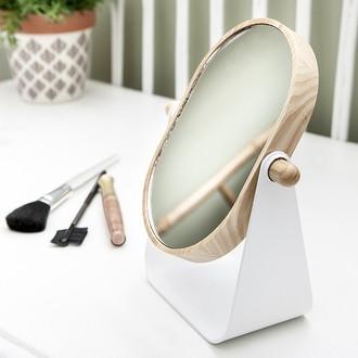 Miroir maquillage à poser court bois et métal 1x2x - 35x34x49cm