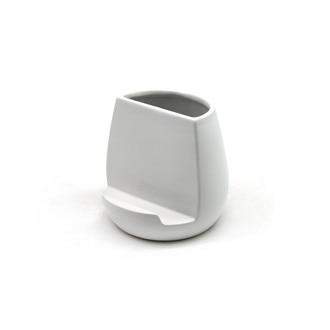 Pot à ustensiles multifonction en céramique blanc 13x13x12.5cm
