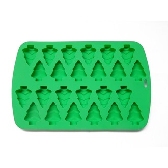 Moule 24 sapins - silicone vert 32,9 x 20,2 x ht 1,3 cm