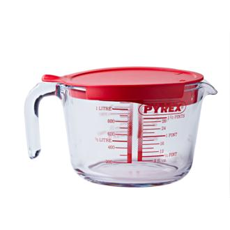 PYREX - Broc mesureur avec anse gradué verre boro transparent avec couvercle plastique rouge 1L 21X21X16cm