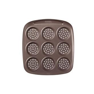 PYREX- Plat rectangulaire mini pizza perforé 9 cavités acier chocolat 29.8X27.5X2.3cm