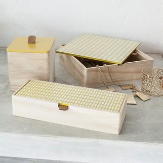 Couvercle réversible pour boite à bijoux en bois carré compartimenté jaune tournesol