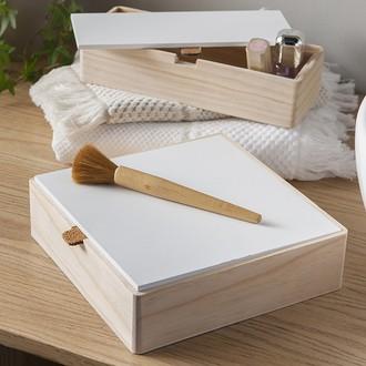 Couvercle pour boite à bijoux en bois carré compartimenté blanc