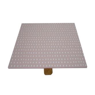 Couvercle réversible pour boite à bijoux en bois carré compartimenté rose fard