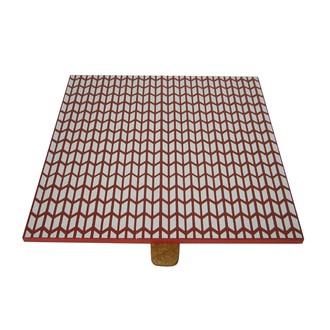 Couvercle réversible pour boite à bijoux en bois carré compartimenté orange