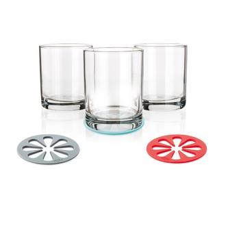 DOTZ-Set de 4 sous verres rouge, gris ou bleu aqua longueur 10cm largeur 10cm hauteur 2cm
