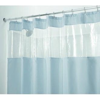 INTERDESIGN - Rideau de douche 100% polyester gris avec fenêtre transparente 183x183cm