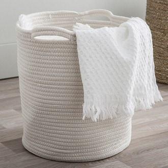 Panier à linge nest en coton blanc