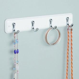INTERDESIGN - Porte serviette York en bois blanc 4 crochets