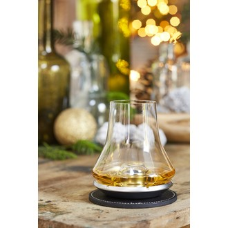 PEUGEOT- Verre dégustation whisky l'impitoyable avec sous verre, socle métal