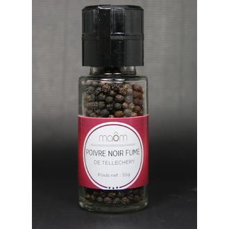 MAOM - Poivre noir fumé de Tellechery-Poivre noir en grain pot verre 60g
