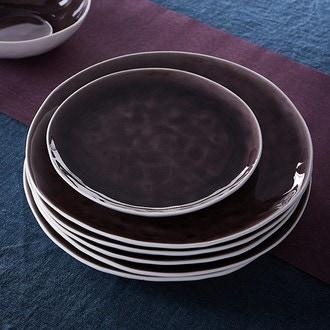 Assiette creuse en grès, extérieur mat blanc et intérieur brillant violet, Skagen, 19cm