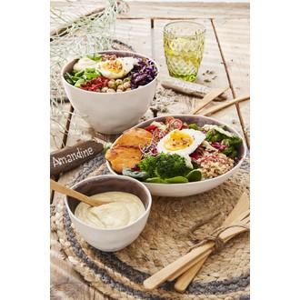 Mini bol en grès, extérieur mat blanc et intérieur brillant violet, Skagen, 0,2cl