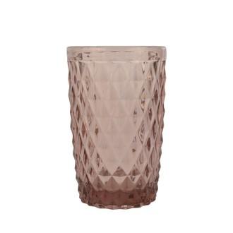 Choppe en verre coloré, motif diamant pourpre, 34cl