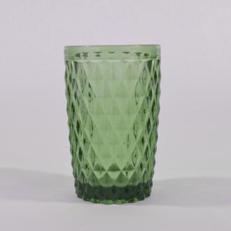 Choppe en verre coloré, motif diamant vert, 34cl