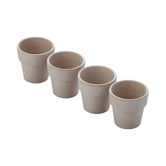 Set de 4 coquetiers en fibre de bambou gris ciment, 4,5x4,5x4,5cm