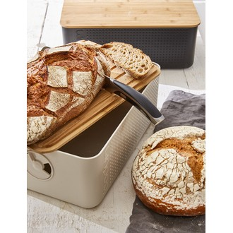 BODUM - Boite à pain grand modèle, blanc couvercle bambou 24x37x14 cm, Bistro