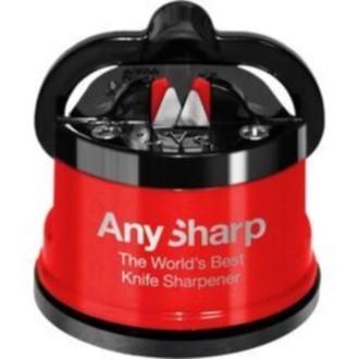AnySharp Pro Metal - Aiguiseur professionnel rouge Ventouse puissante et lames en carbure de tungstène