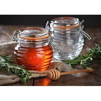 KILNER - Pot à miel vintage en verre et plongeur en bois, 40cl