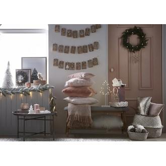 Coussin velours rose quartz et passepoil doré sur petits côtés Eclat 25X40cm