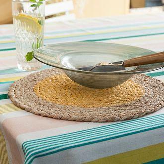 Set de table rond en jute, naturel et jaune, 32cm