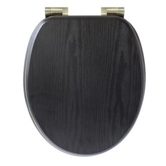 Abattant de toilette noir avec frein de chute et charnières effet laiton Kohl