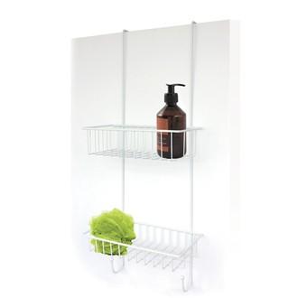 Serviteur de douche à suspendre en métal epoxy blanc Illico Overdoor 25x25x60cm