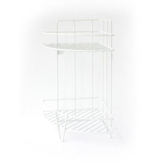 Etagère d'angle à poser ou à fixer en métal epoxy blanc Corner 26x19x33cm