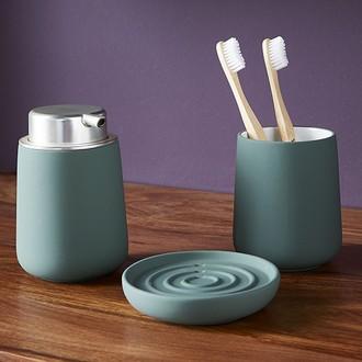 ZONE - Porte savon en porcelaine soft touch verte cactus Nova