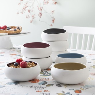 Coupelle en porcelaine, extérieur mat et intérieur brillant, coloris assortis 12cm