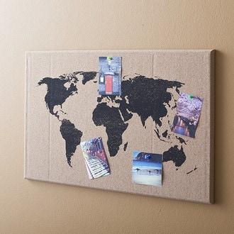 Tableau mémo liège décor map monde 40x40cm