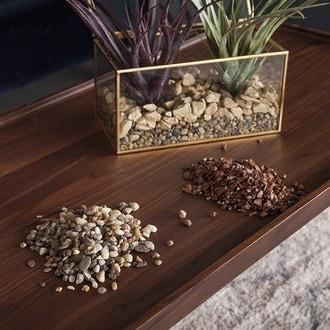 Pierres décoratives naturelles 5-8mm marron en pot de 800g
