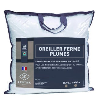 LESTRA - Oreiller rectangle ferme anti-acariens Oie & Canard 45x70cm