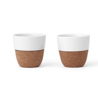 VIVA SCANDINAVIA - Set 2 tasses en porcelaine blanche et liège Lauren 25cl