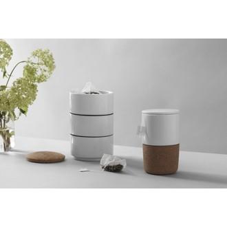 VIVA SCANDINAVIA - Mug avec couvercle en porcelaine blanche et liège Cortica 40cl