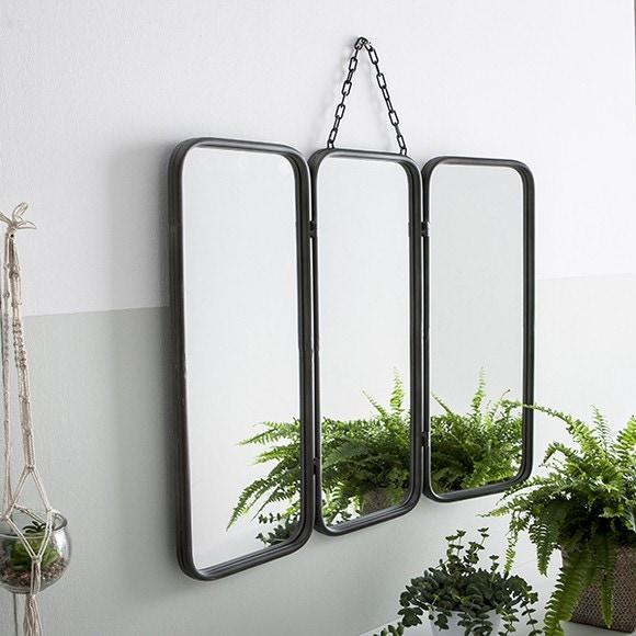 Miroir de barbier triptyque gris 66x30cm Pas cher - Zôdio