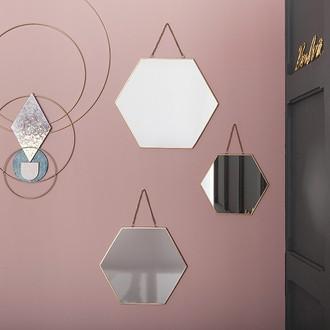 3 miroirs hexagone or