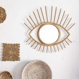 Miroir rotin naturel œil 50x46cm